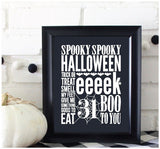 Halloween Sampler White on Black Prints/Card Digital Download Print/Cut SVG & Pdf