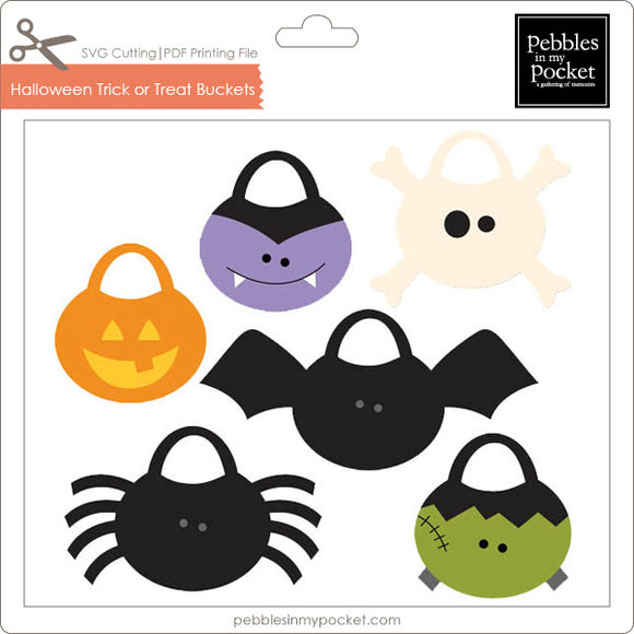 Halloween Trick or Treat Buckets Digital Download SVG & Pdf
