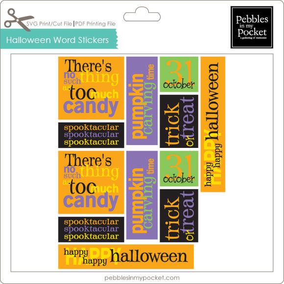 Halloween Word Stickers Digital Download Print/Cut SVG & Pdf