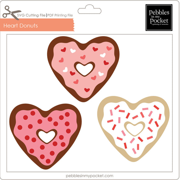 Heart Donuts Digital Download SVG & Pdf