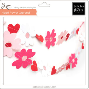 Hearts a Flutter Garland Digital Download SVG & Pdf