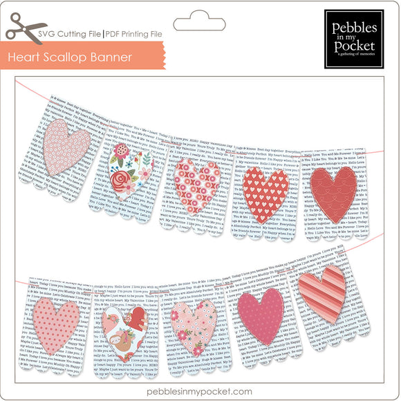 Heart Scallop Banner Digital Download SVG & Pdf