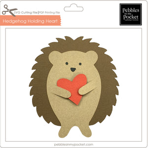 Hedgehog Holding Heart Digital Download SVG & Pdf