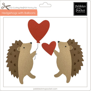 Hedgehogs with Balloons Digital Download SVG & Pdf