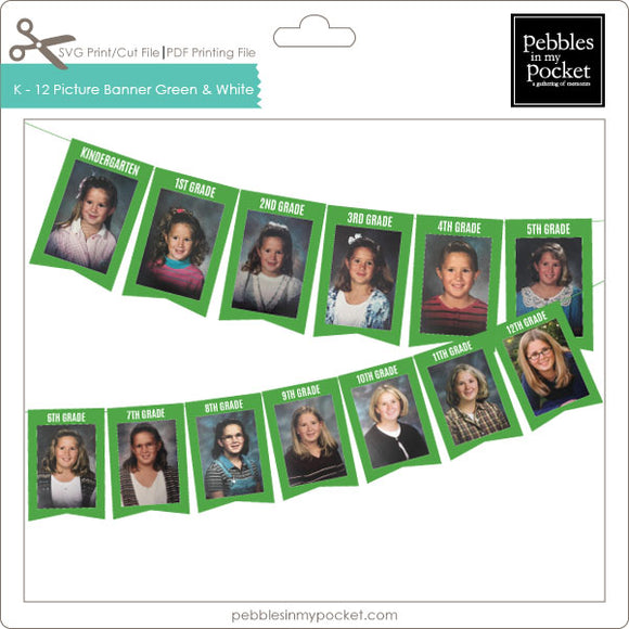 K thru 12 Picture Banner Green & white Digital Download Print/Cut SVG & Pdf