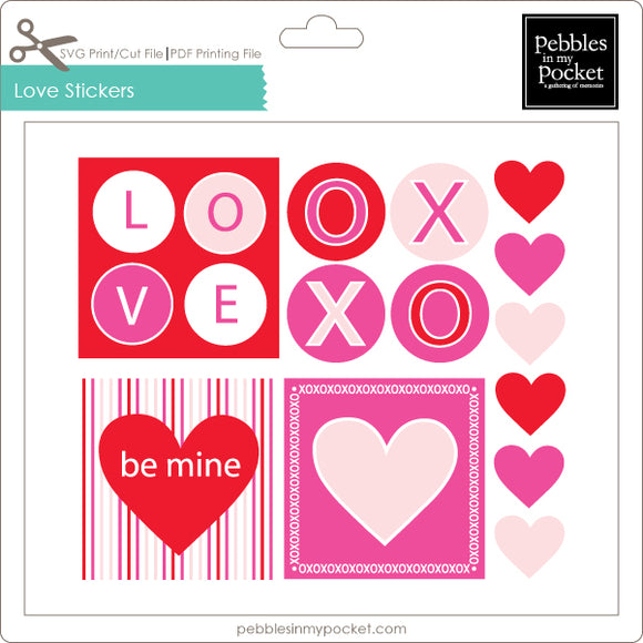Love Stickers Digital Download Print/Cut SVG & Pdf