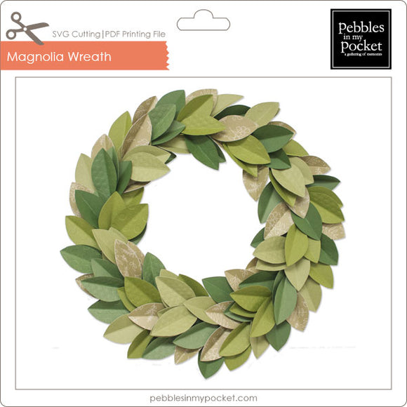 Magnolia Wreath Digital Download Print/Cut SVG & Pdf