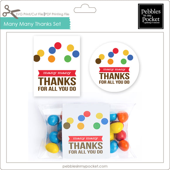 Many Many Thanks Tag, Sticker & Pillow Box Wrap Digital Download Print/Cut SVG & Pdf