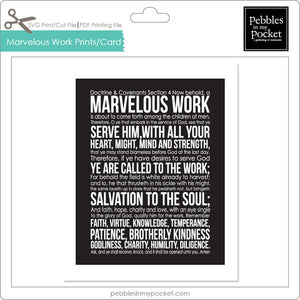 Marvelous Work Prints/Card Digital Download Print/Cut SVG & Pdf
