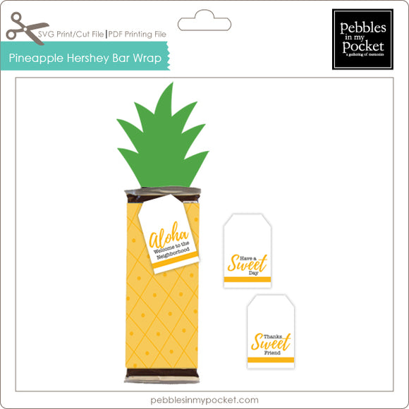 Pineapple Hershey Bar Wrap Digital Download Print/Cut SVG & Pdf