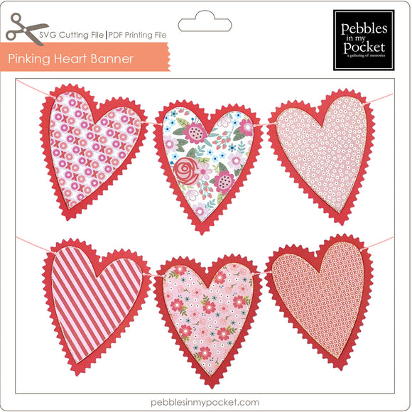 Pinking Heart Banner Digital Download SVG & Pdf