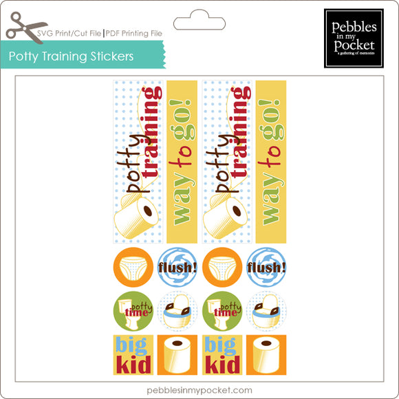 Potty Training Stickers Digital Download Print/Cut SVG & Pdf