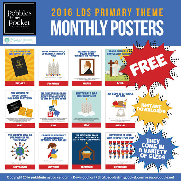 Primary 2016 Monthly Theme Posters Digital Download FREE