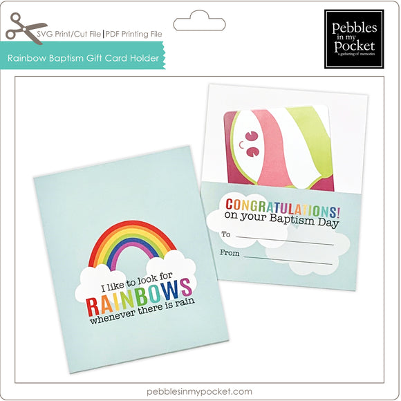 Rainbow Baptism Gift Card Holder Digital Download SVG & Pdf