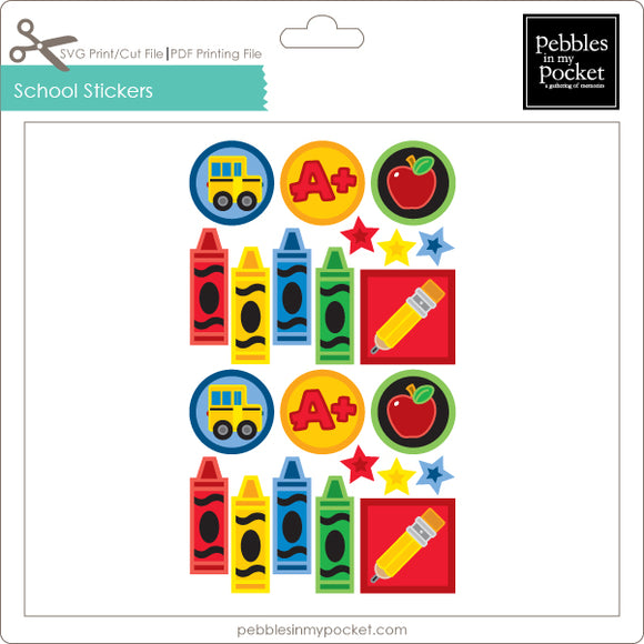 School Stickers Digital Download Print/Cut SVG & Pdf
