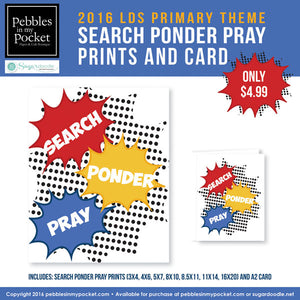 Primary 2016 Search, Ponder, and Pray Prints/Card Digital Download Pdf