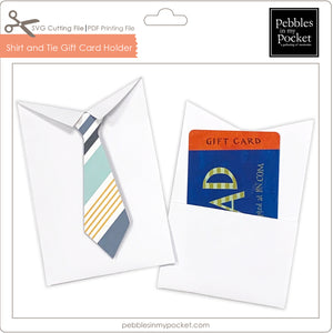 Shirt and Tie Gift Card Holder Digital Download SVG & Pdf