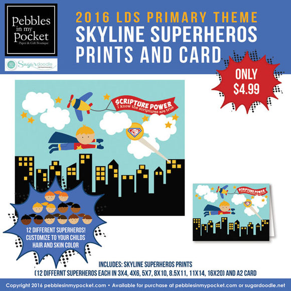 Primary 2016 Skyline Superhero Kids Prints/Card Digital Download