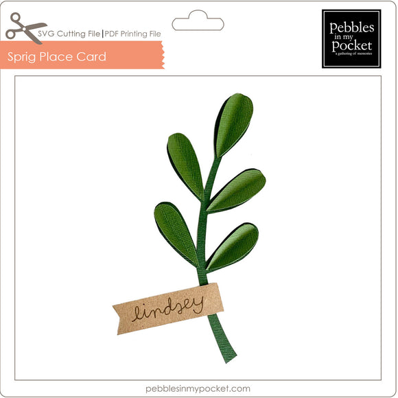 Sprig Place Card Digital Download SVG & Pdf