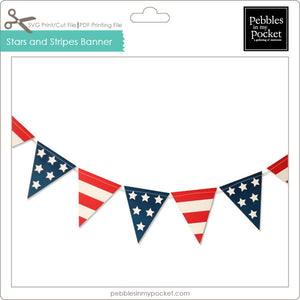 Stars and Stripes Pennant Banner Digital Download Print Cut SVG & Pdf