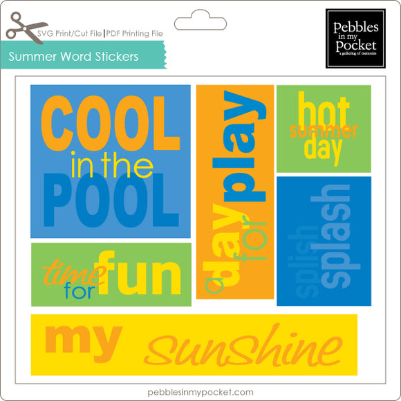 Summer Word Stickers Digital Download Print/Cut SVG & Pdf