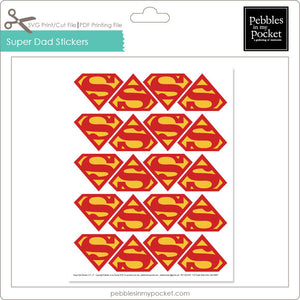 Super Dad Stickers Digital Download Print/Cut SVG & Pdf