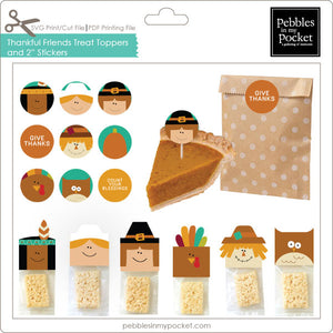 "Thankful Friends Treat Toppers & 2"" Stickers Digital Download Print/Cut SVG & Pdf"