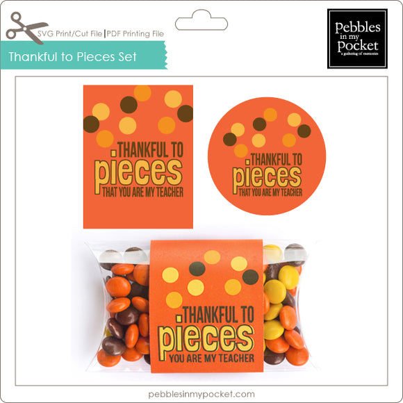 Thankful To Pieces Tags, Sticker & Pillow Box Wrap Digital Download Print/Cut SVG & Pdf