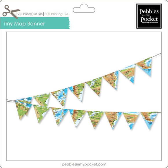 Tiny Map Banner Digital Download Print/Cut SVG & Pdf
