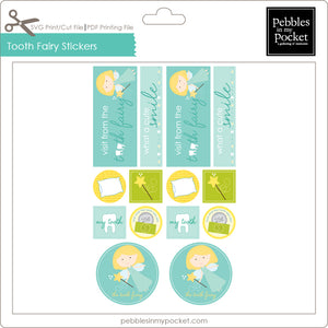 Tooth Fairy Stickers Digital Download Print/Cut SVG & Pdf