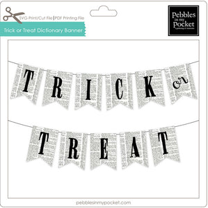 Trick or Treat Dictionary Banner Digital Download Print/Cut SVG & Pdf