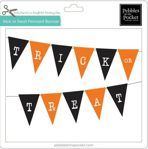 Trick or Treat Pennant Banner Digital Download Pdf