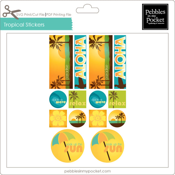 Tropical Stickers Digital Download Print/Cut SVG & Pdf