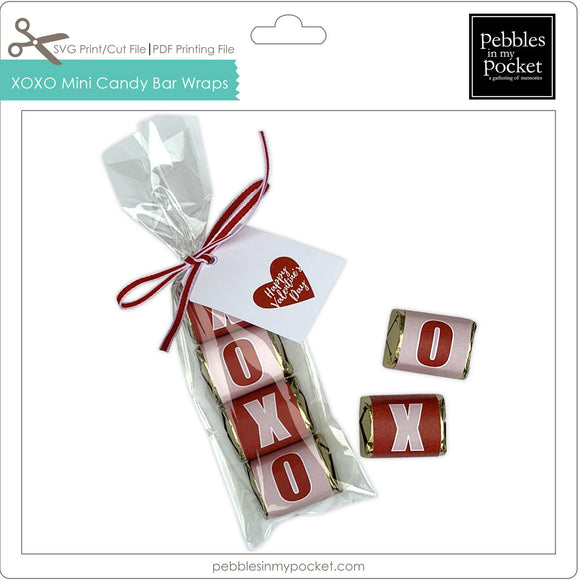 XOXO Mini Candy Bar Wraps Digital Download Print/Cut SVG & Pdf