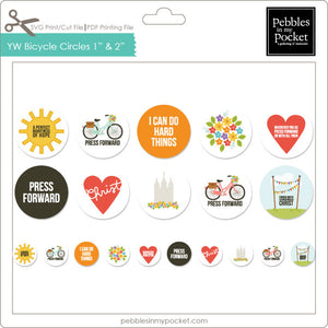 "YW Press Forward Bicycle 1"" & 2"" Circles Digital Download Print/Cut SVG & Pdf"