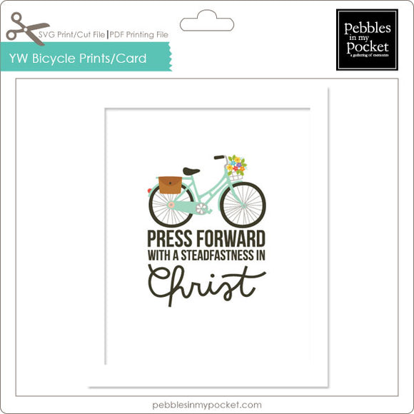 YW Press Forward Bicycle Prints/Card Digital Download Print/Cut SVG & Pdf