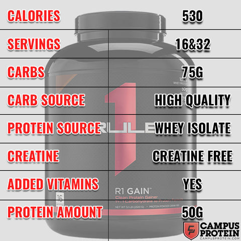 Rule1 R1 Gain Protein Mass Gainer
