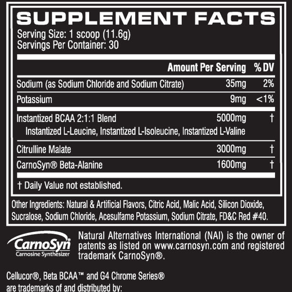 Cellucor Beta BCAA Supplement Facts
