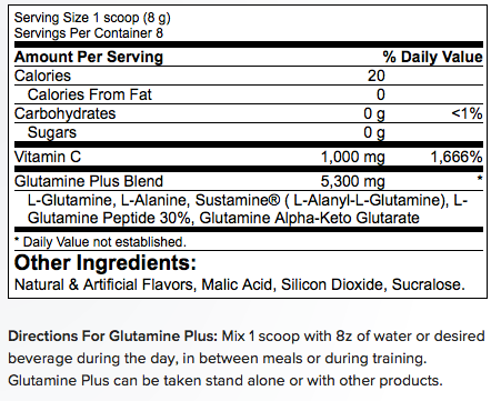 Betancourt Nutrition Glutamine Plus Supplement Facts