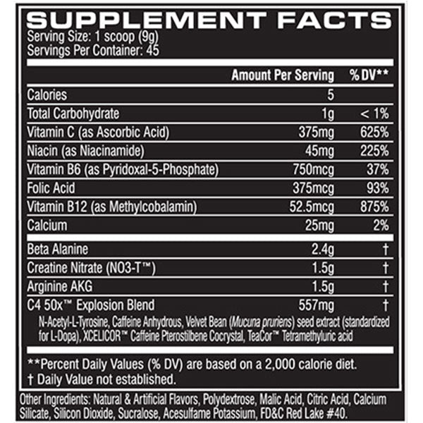 Cellucor C4 50x Supplement Facts