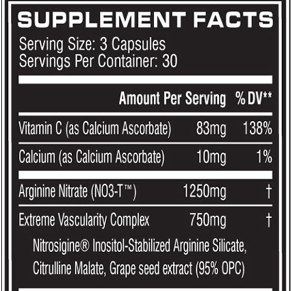 Cellucor NO3 Supplement Facts