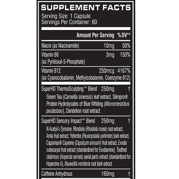 Cellucor Super HD Supplement Facts