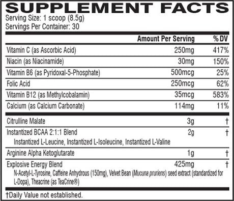 Cellucor C4 Zero Supplement Facts