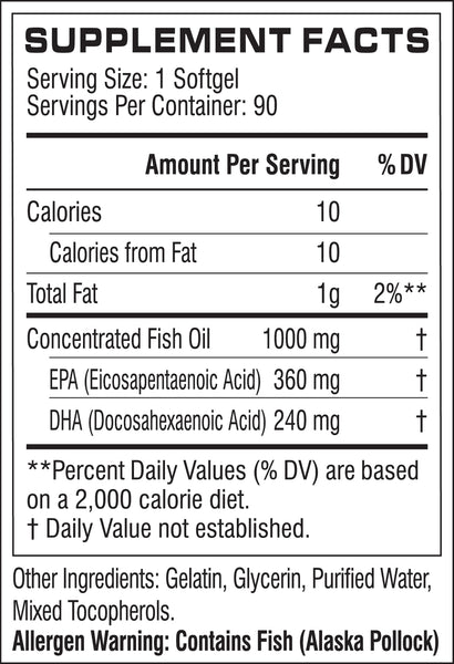Cellucor Cor-Performance Fish Oil Supplement Facts
