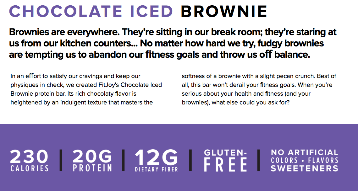 Cellucor Fitjoy protein bar Chocolate Iced Brownie