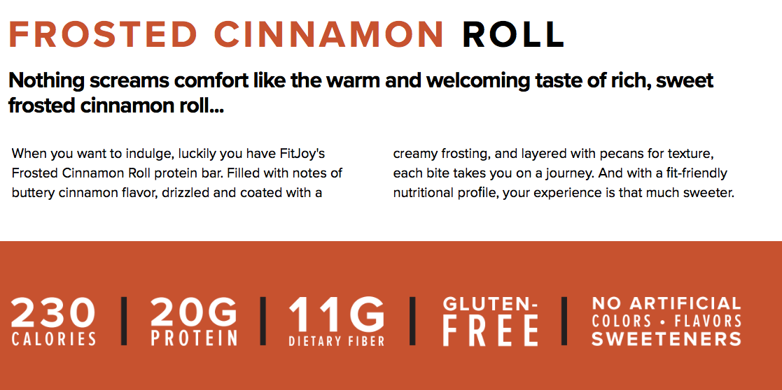 Cellucor Fitjoy protein bar Frosted Cinnamon Roll