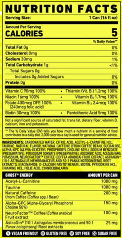 Ghost Energy Drink Nutrition Facts