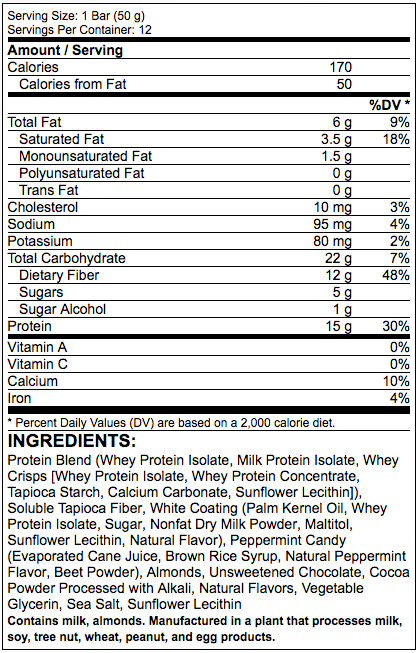Fitmiss Protein Bar Supplement Facts