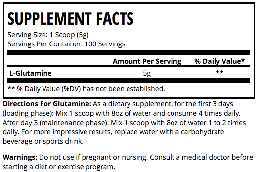 Man Sports Glutamine Supplement Facts