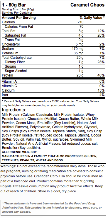 Nutrition Facts Grenade Carb Killa Protein Bars